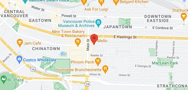 map of 505 231 E PENDER STREET