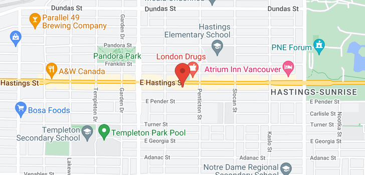 map of 203 2556 E HASTINGS STREET