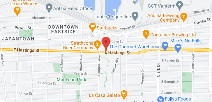 map of 713 933 E HASTINGS STREET