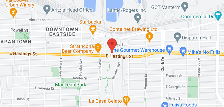 map of 755 955 E HASTINGS STREET