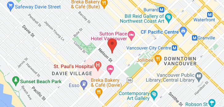 map of 901 1028 BARCLAY STREET