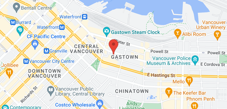 map of 1706 128 W CORDOVA STREET