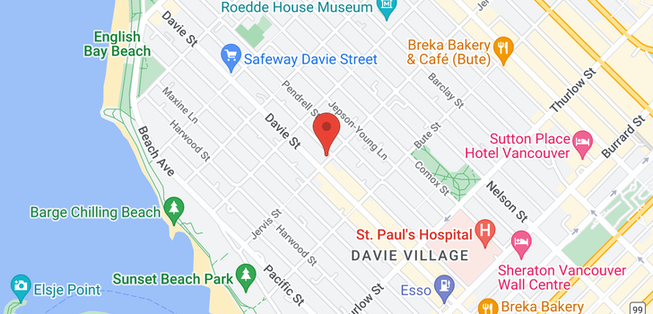 map of 1801 1171 JERVIS STREET