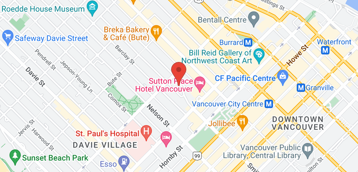 map of 606 1050 SMITHE STREET