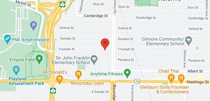 map of 3646 TRIUMPH STREET