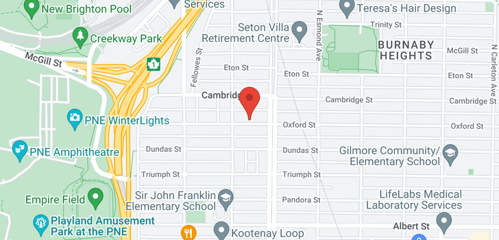 map of 3639 OXFORD STREET