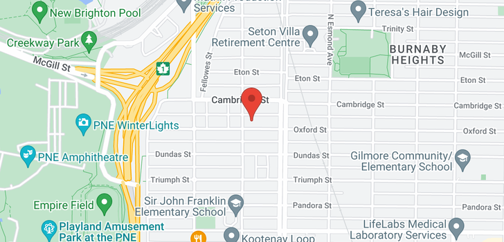 map of 3617 OXFORD STREET