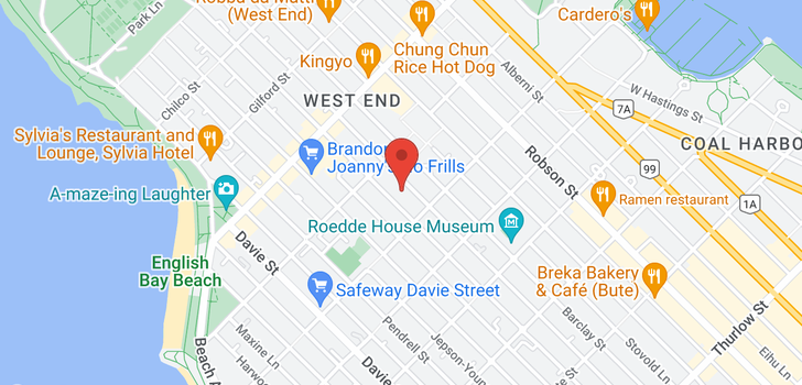 map of 102 1655 NELSON STREET