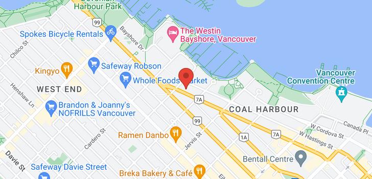 map of 301 1477 W PENDER STREET