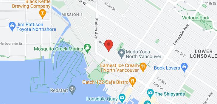 map of 404 255 W 1ST STREET